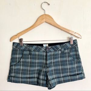 Rusty plaid patterned booty shorts